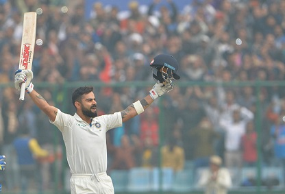 Virat Kohli celebrates his century in  Delhi Test vs Sri Lanka | Getty Images