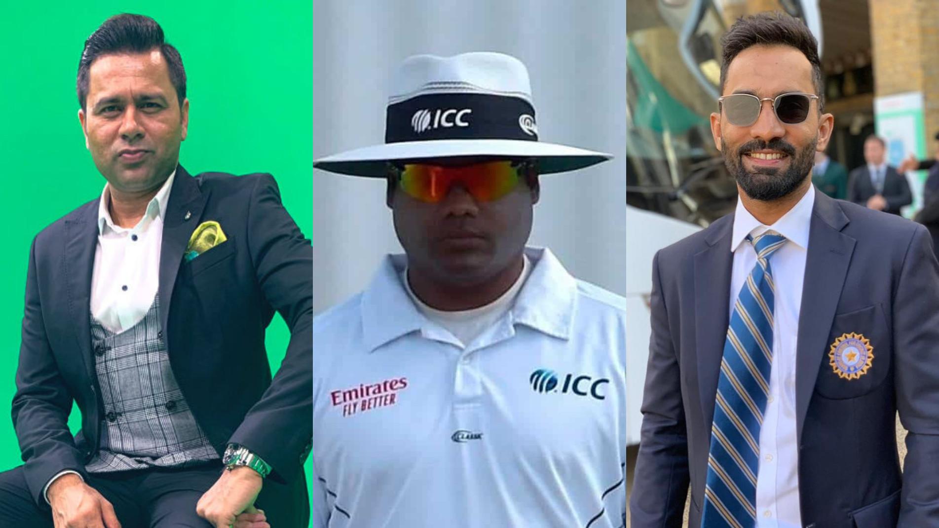 Dinesh Karthik hopes Nitin Menon gets Best Umpire award for 2021; Aakash Chopra shares a meme