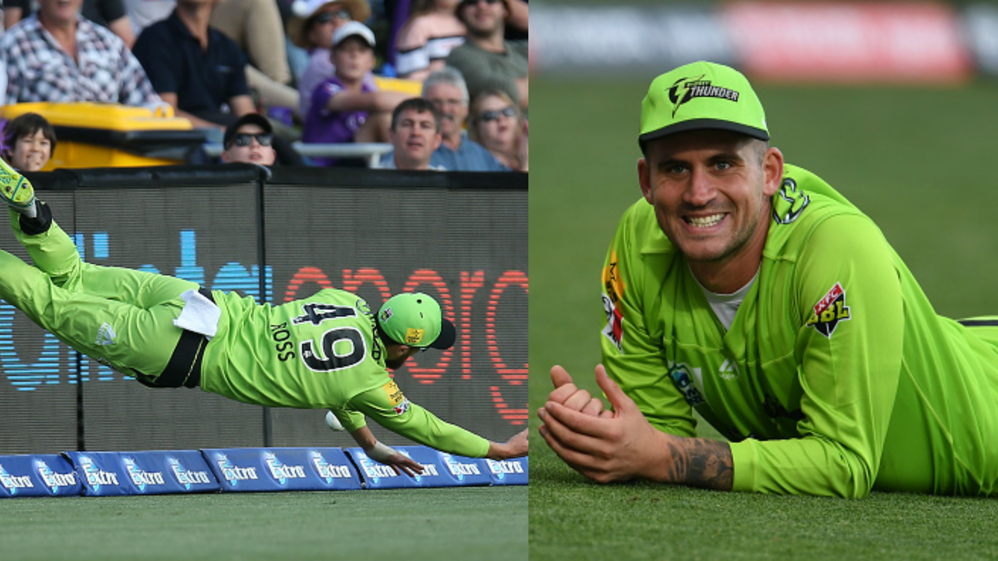 BBL 09: WATCH - Ross and Hales' incredible fielding efforts for Sydney Thunder elates the crowd