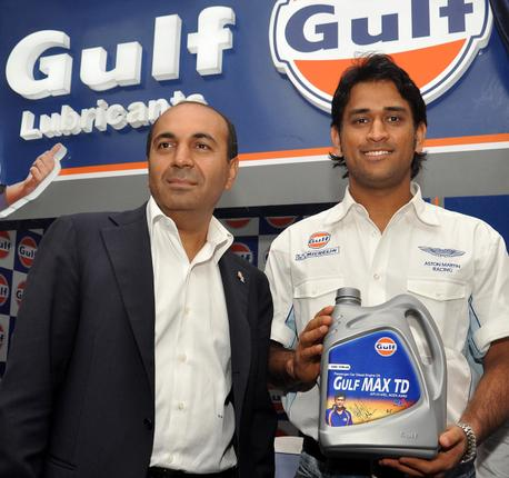 MS Dhoni is associated with Gulf Oil.