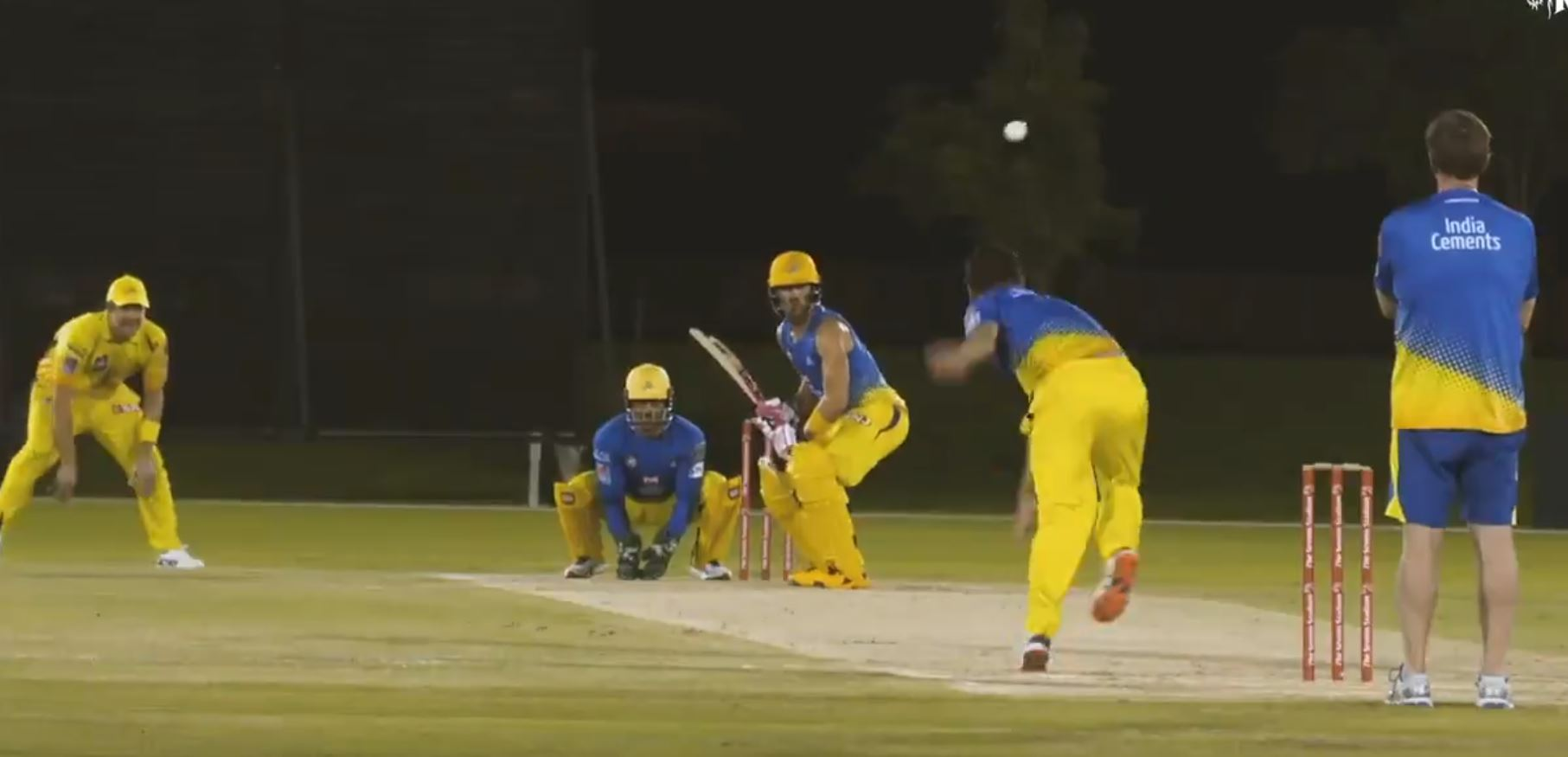 Chawla bowls to Faf du Plessis, while Dhoni keeps wickets and Watson waits in slips | CSK Twitter