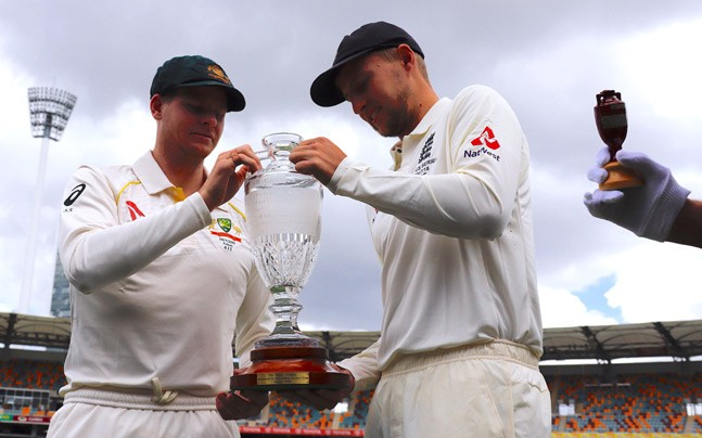 Steve Smith and Joe Root with Ashes Trophy | Reuters