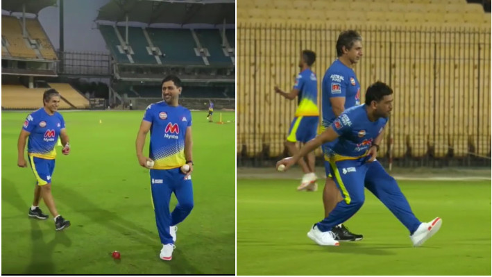 IPL 2021: WATCH - MS Dhoni and CSK Physio play the Italian version of 'Goli'