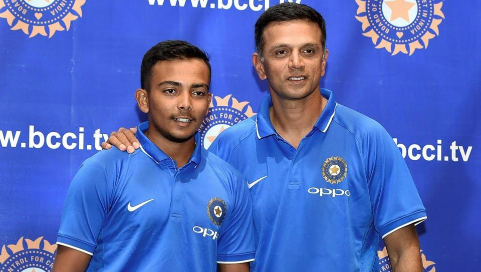 Coach Rahul Dravid and U19 captain Prithvi Shaw