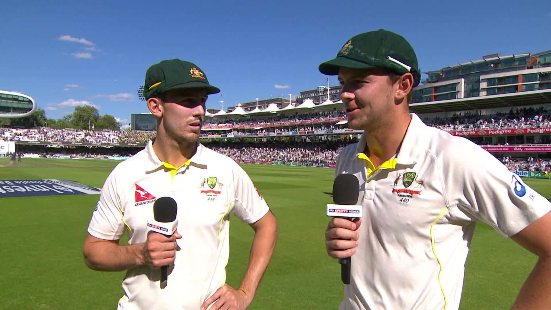 Mitchell Marsh and Josh Hazlewood. (Sky Sports)