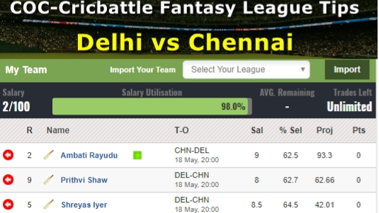 Fantasy Tips - Delhi vs Chennai on May 18