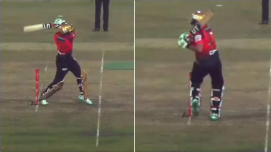 WATCH- Shahid Afridi shocked after being dismissed hit wicket