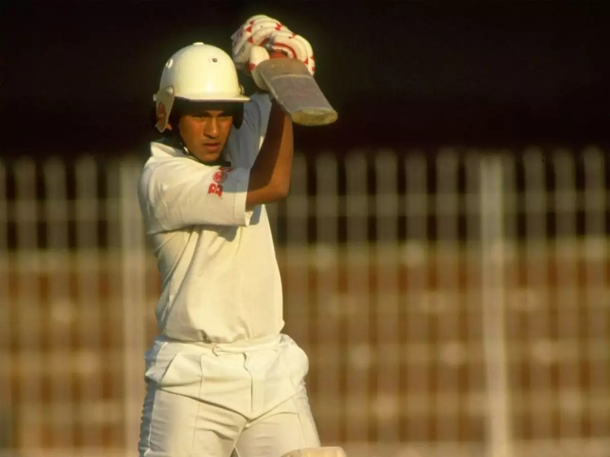 Sachin Tendulkar during his Test debut series v Pakistan in 1989 (Photo - Getty Images)