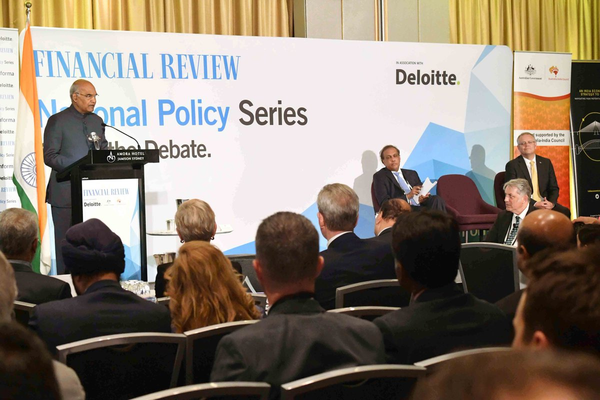 President of India Ramnath Kovind addresses Australian Financial Review India Business Summit in Sydney | Twitter