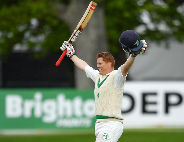 Kevin O'Brien celebrates his maiden Test ton against Pakistan | Getty Images