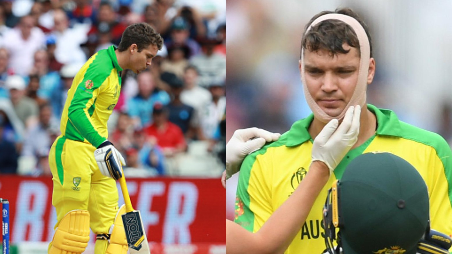 CWC 2019: WATCH- Alex Carey gets hit on his chin; fans laud his bravery to carry on batting
