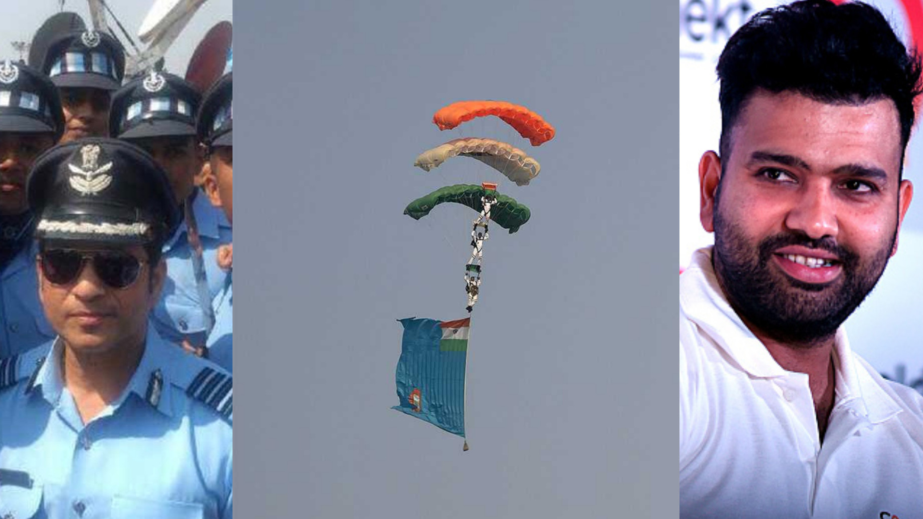 Indian Cricketers salute the Indian Air Force as they celebrate their 86th anniversary