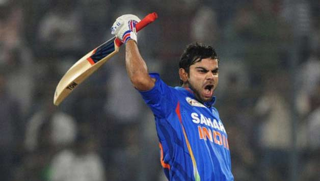 Virat Kohli celebrates his century during his highest ever ODI score of 183 against Pakistan