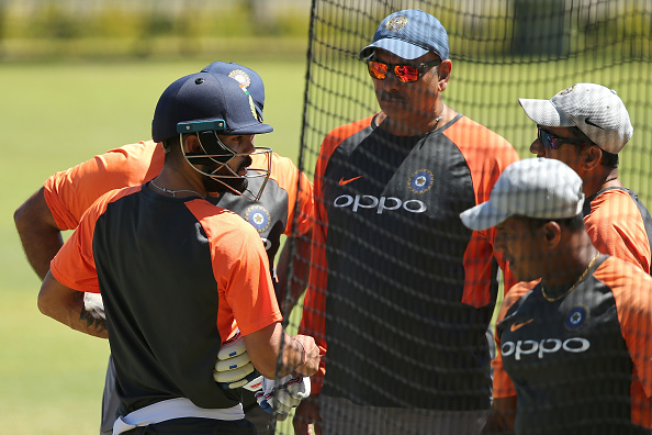 Virat Kohli and Team India with coaching staff during training session at Optus Stadium | Getty Images