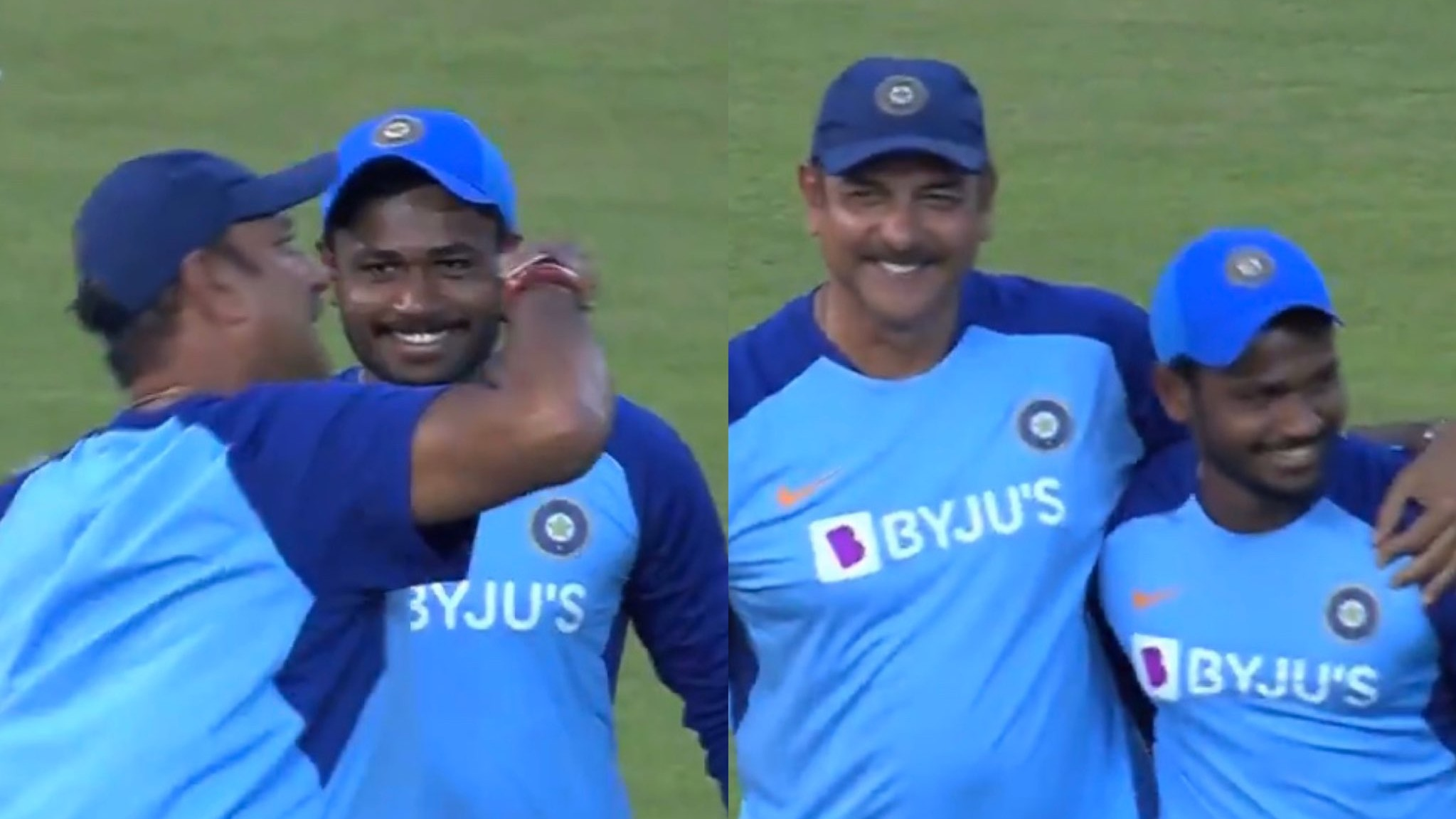 IND v WI 2019: WATCH - Ravi Shastri mock punches Sanju Samson as he is cheered by the crowd