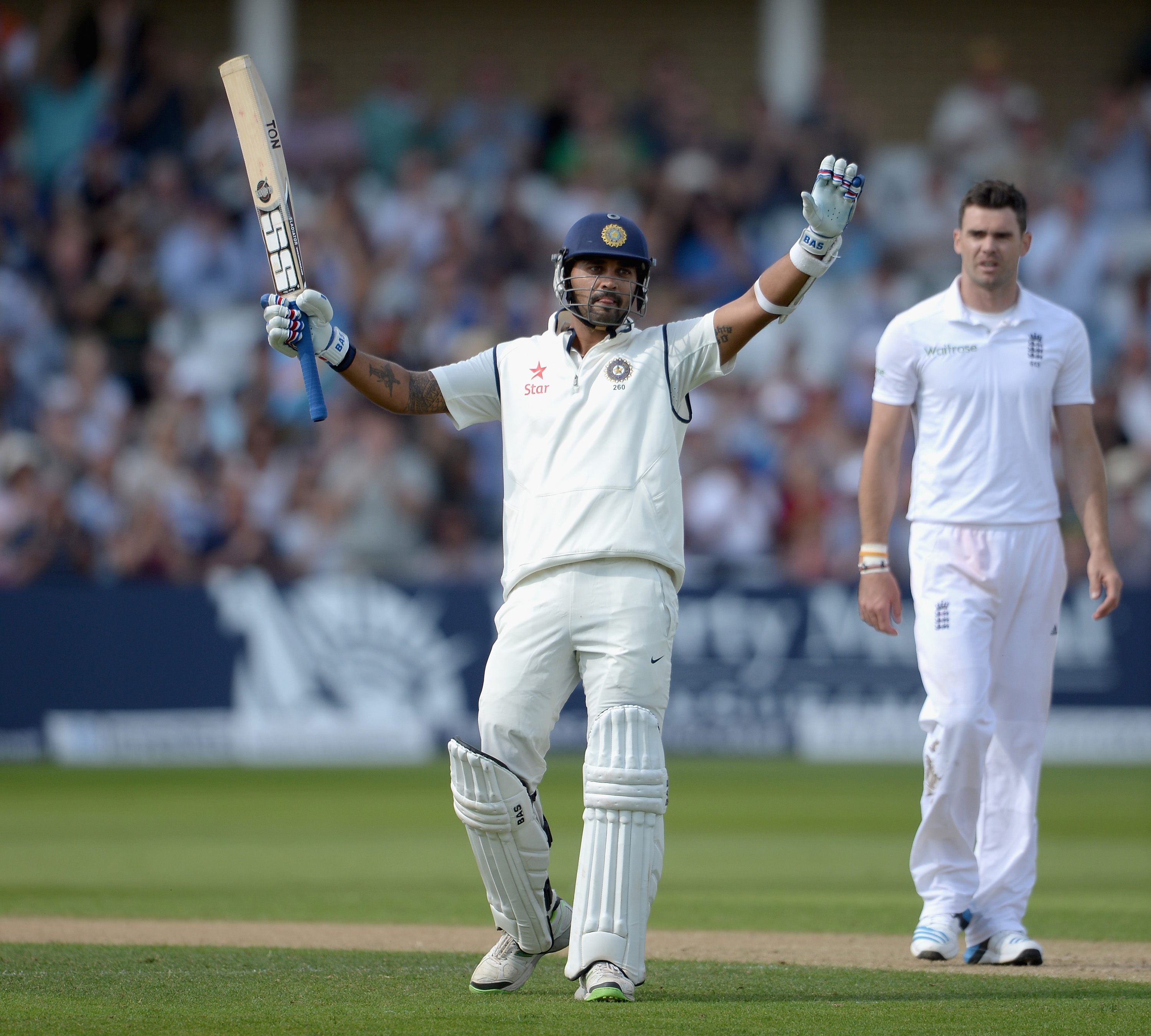 Murali Vijay celebrates his classy century during the first Test against England at Trent Bridge in 2014 | Getty