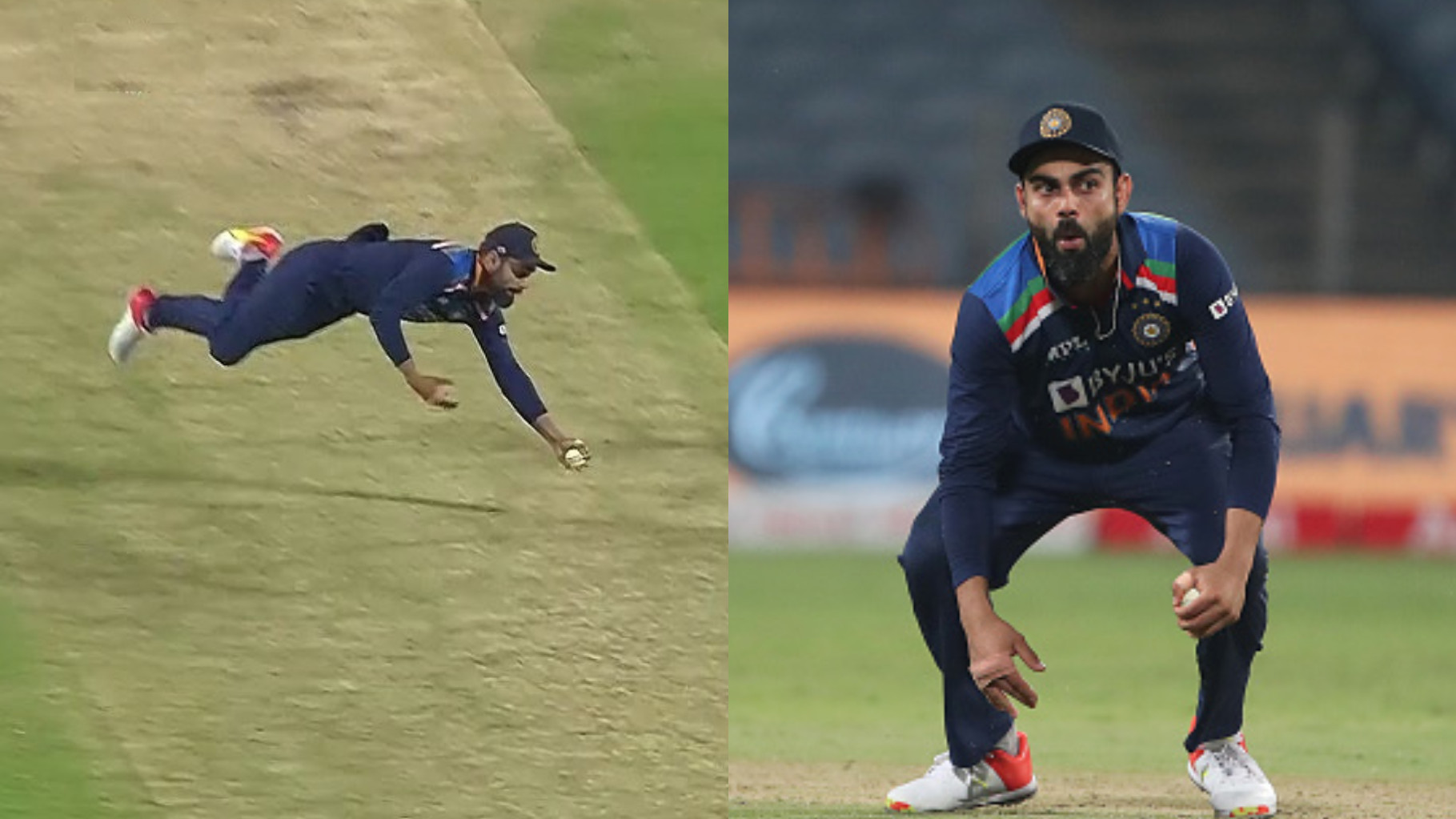 IND v ENG 2021: WATCH- Virat Kohli takes a brilliant one-handed cruncher to remove Adil Rashid in 3rd ODI