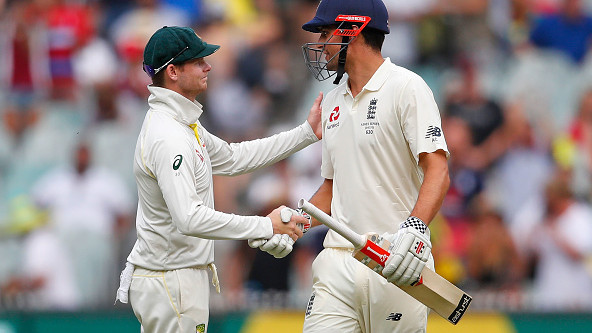 Steve Smith congratulates Alastair Cook on an outstanding career