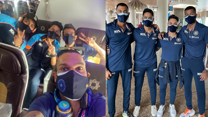 SL v IND 2021: Indian cricketers pose with their travel buddies as they depart for Sri Lanka