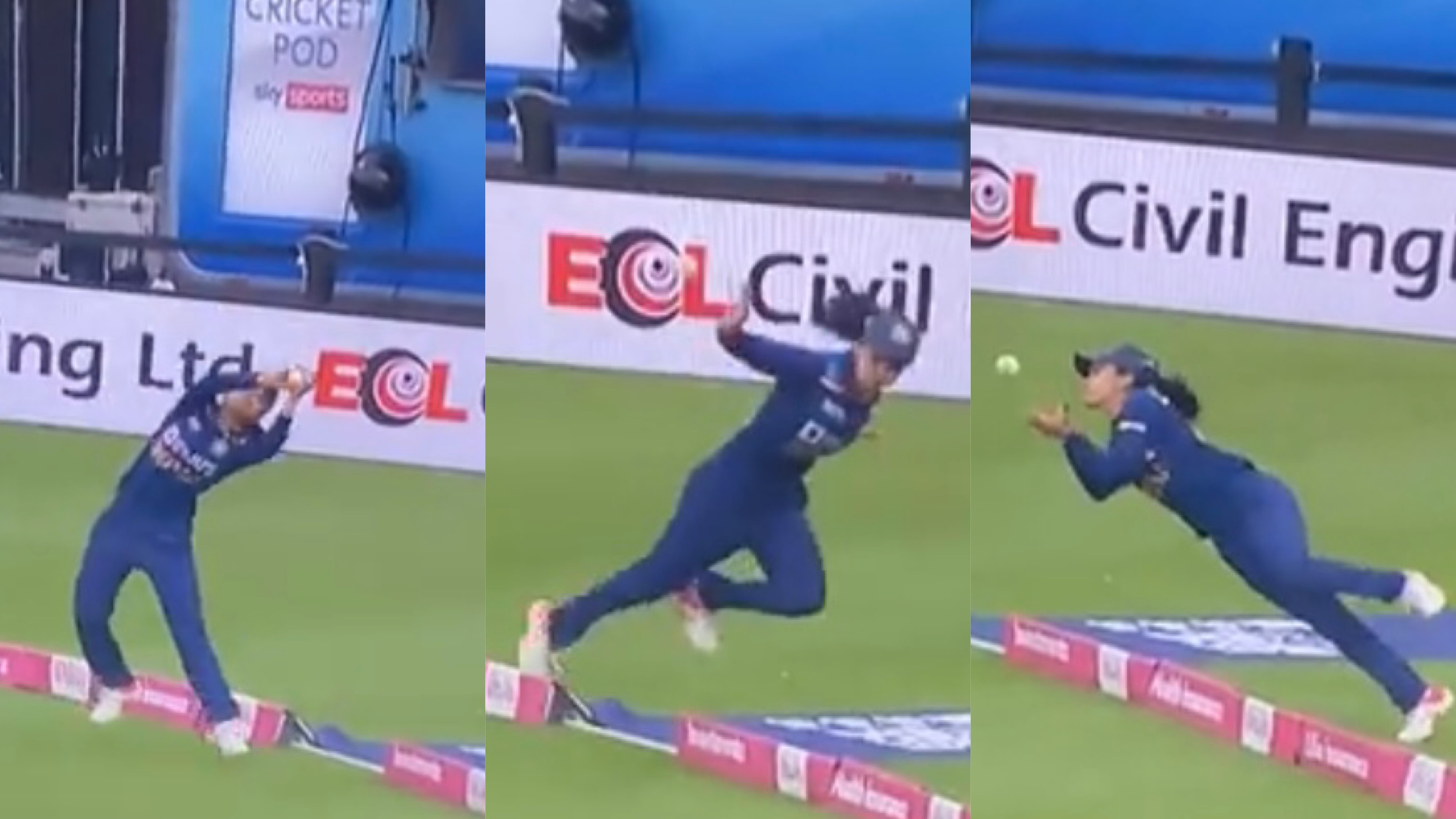 ENGW v INDW 2021: WATCH - Harleen Deol plucks one of the great catches in 1st T20I