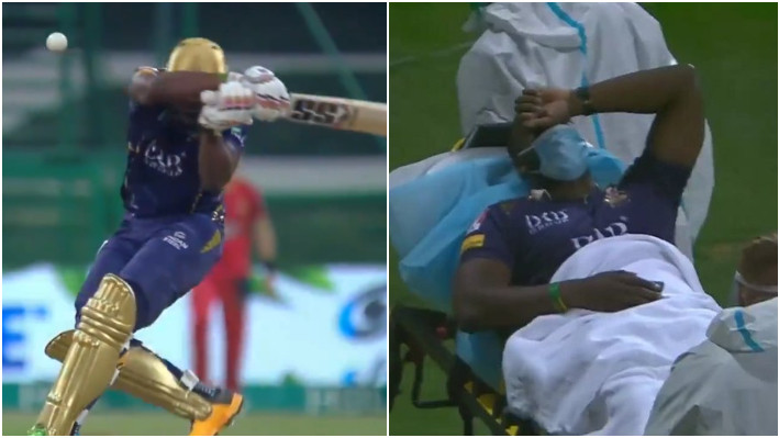 PSL 2021: WATCH - Andre Russell stretchered out after taking a blow on the head