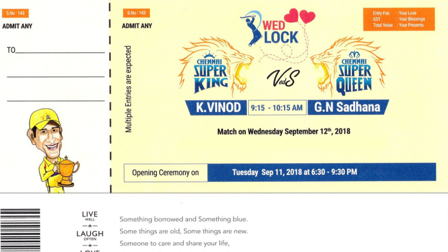 Diehard Chennai Super Kings fan designs his wedding card in form of CSK match ticket