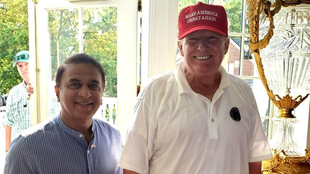 Sunil Gavaskar meets US President Donald Trump in a New York fundraiser