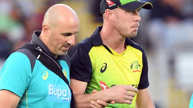 Chris Lynn injured his shoulder in the tri series final against New Zealand. (Getty)