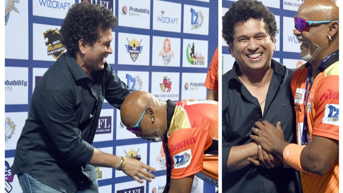 Watch: Vinod Kambli bows down to touch Sachin Tendulkar's feet during Mumbai T20 League final