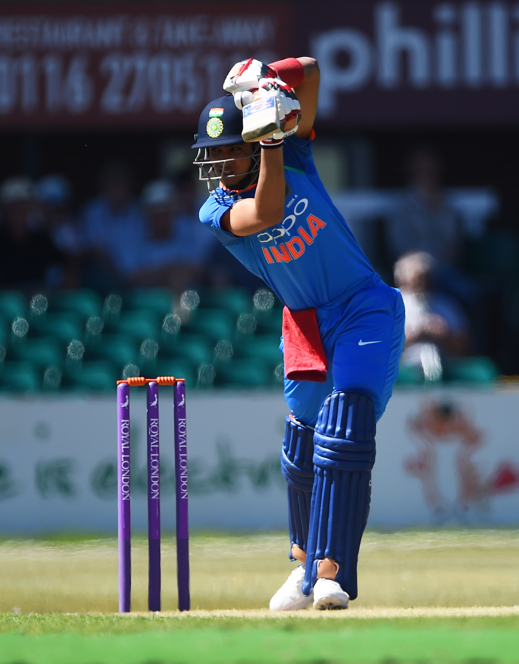 Shubman Gill bats for India 'A' against England Lions at Fischer County Ground last month | Getty