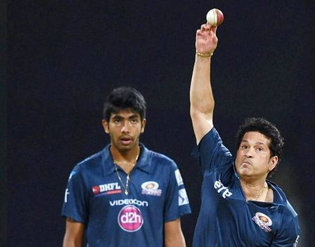 A young Jasprit Bumrah watches Sachin Tendulakr execute a delivery
