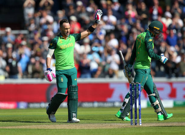 Captain Faf du Plessis scored 387 runs with 1 hundred and 3 fifties in CWC 2019 (photo - getty)