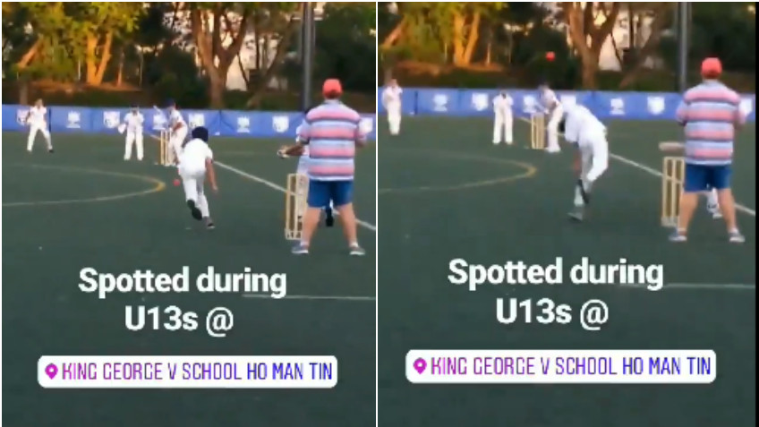 WATCH: An U-13 bowler comes up with a very unusual bowling action