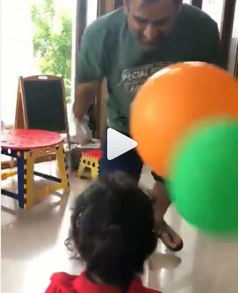 Dhoni playing with daughter Ziva | Screengrab