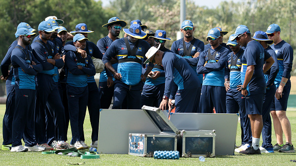 Chandika with Sri Lanka cricketers during net session | Getty Images