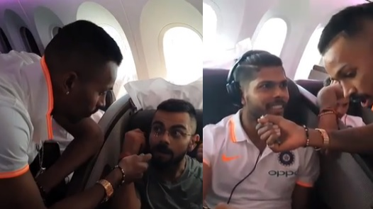WATCH: Hardik Pandya gives in-flight entertainment to his teammates