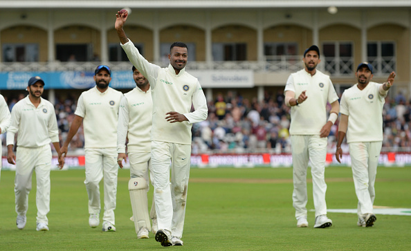 Hardik Pandya walks off with the match ball after picking 5/28 | Getty