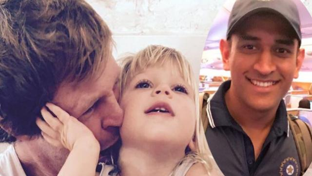 Jonty Rhodes with daugther India and India wicket-keeper MS Dhoni