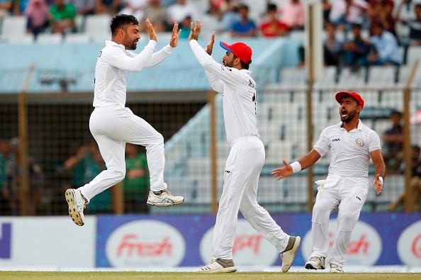 Rashid Khan celebrating a Test wicket | Getty