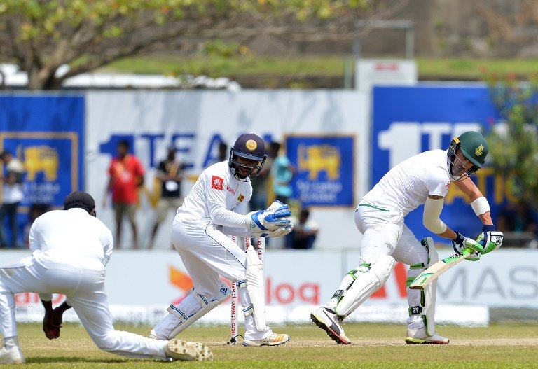 Faf du Plesis and other South African batsmen struggled against spin at Galle. (AFP)