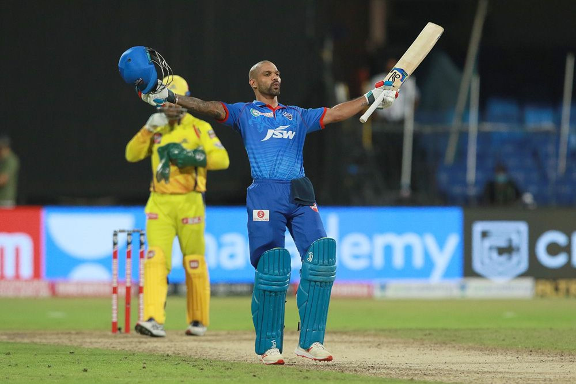 Shikhar Dhawan scored his maiden IPL hundred against CSK in Sharjah. (Photo - BCCI / IPL)