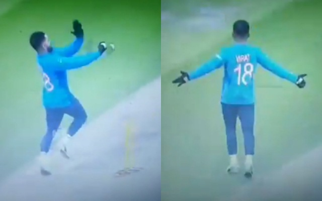 Kohli copying Bumrah's bowling action and wicket-taking celebration | Screengrab