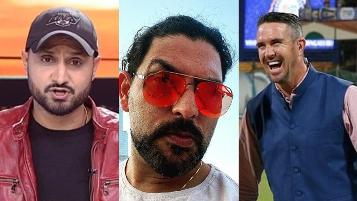 Yuvraj Singh poses in front of Burj Khalifa; Harbhajan and Pietersen pull his leg