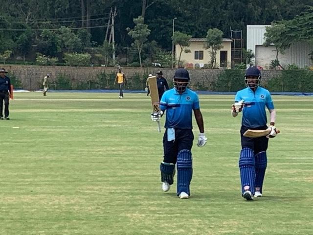 Sanju Samson raising his bat at the end of the innings | Facebook/KCA