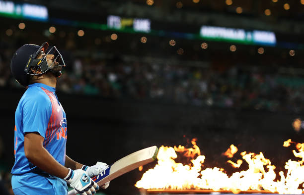 Rohit Sharma will become the first Indian player to appear in 100 T20I matches tonight. (photo - getty)