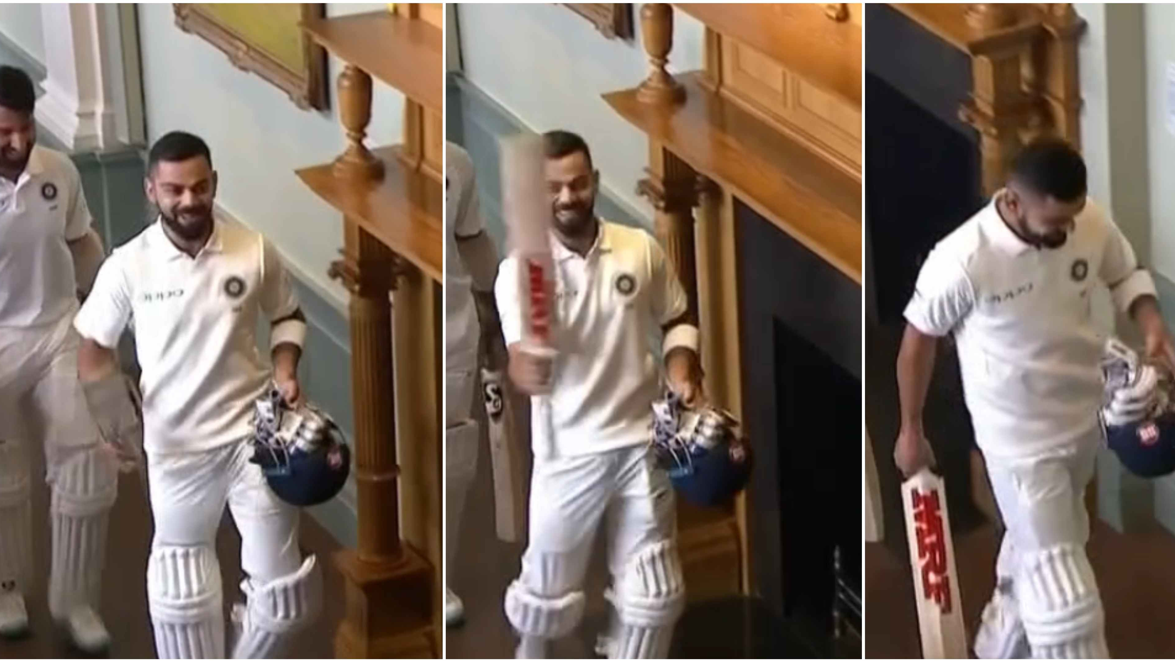 ENG v IND 2018: WATCH – Virat Kohli raises his bat in the Lord's long room