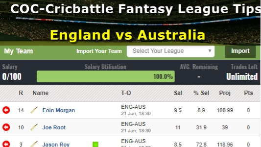 Fantasy Tips - England vs Australia on June 21