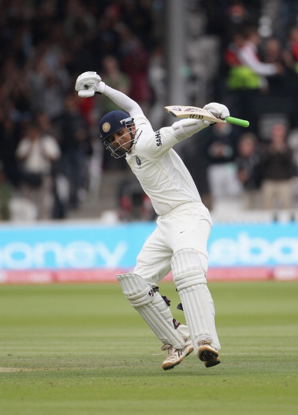 Rahul Dravid celebrates a superlative century at Lord's, 2011 | Getty
