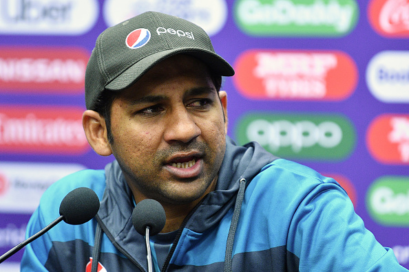 Sarfaraz Ahmed addresses the press conference in Taunton | Getty