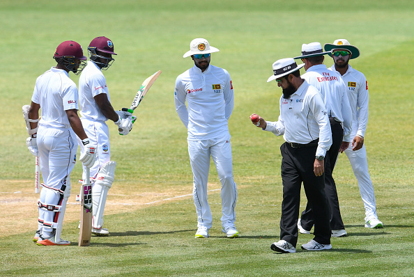 Dinesh Chandimal arguing with the umpires over the change of the ball in St. Lucia Test | Getty